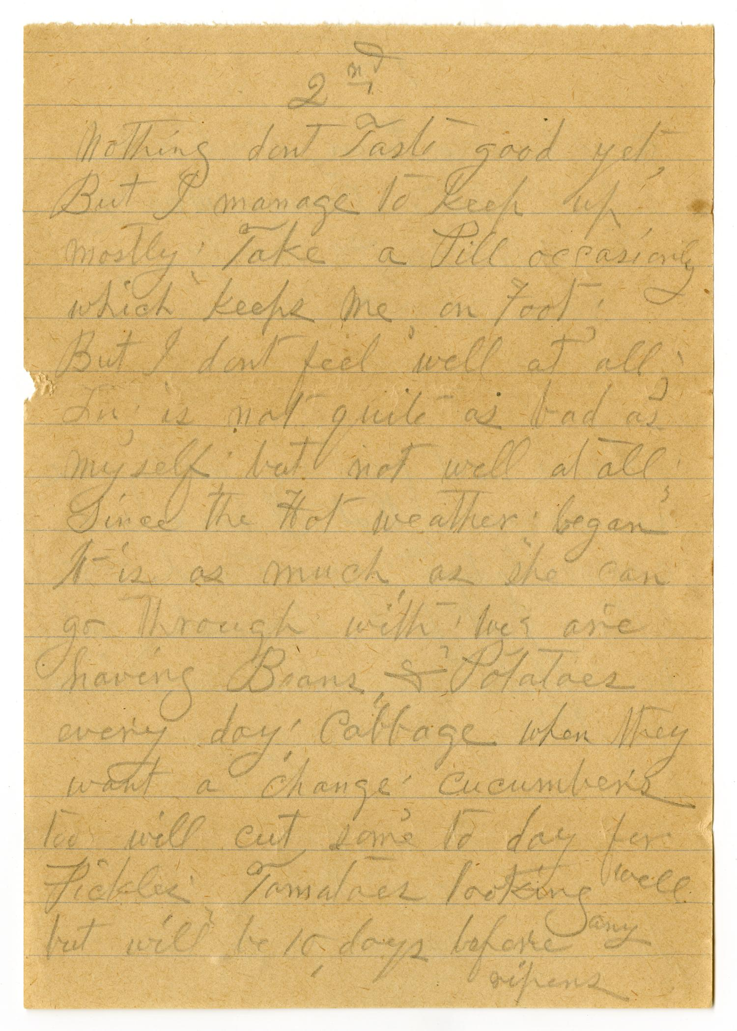 [Letter from Sally Thornhill to Mary Moore, July 8, 1910]                                                                                                      [Sequence #]: 2 of 14