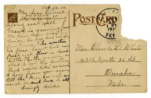 Primary view of object titled '[Postcard from Birdie McGee to Linnet Moore White, October 16, 1910]'.
