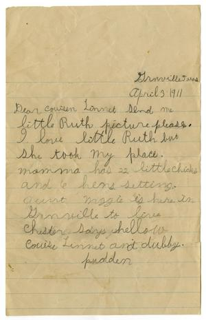 Primary view of object titled '[Letter to Linnet White, April 3, 1911]'.