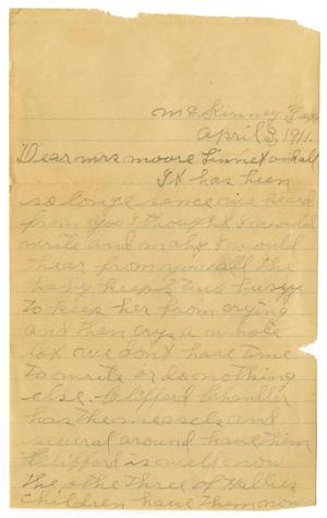 Primary view of object titled '[Letter from Opal Drury to Mary Ann Moore and Linnet White, April 3, 1911]'.