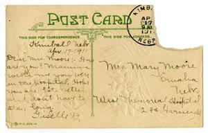 Primary view of object titled '[Postcard for Mary Ann Moore, April 17, 1911]'.