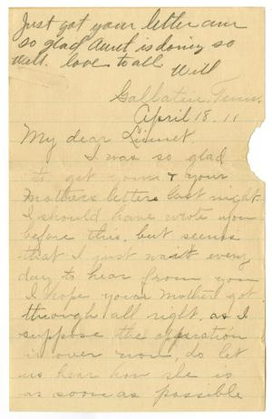 Primary view of [Letter from Birdie McKinley to Linnet White, April 18, 1911]