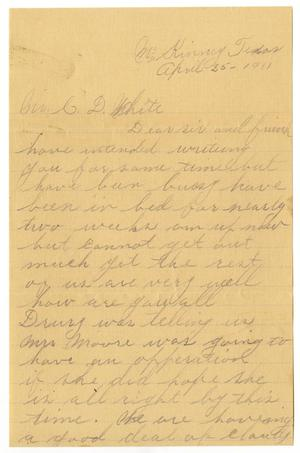 Primary view of object titled '[Letter from J. W. Berry to Claude D. White,  April 25, 1911]'.
