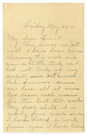 Primary view of object titled '[Letter from Birdie McGee McKinley to Linnet Moore White, May 26, 1911]'.