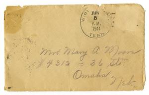 Primary view of object titled '[Envelope for Mary Moore, June 5, 1911]'.