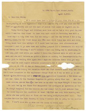 Primary view of object titled '[Letter from Cora Robertson to Mrs. Linnet White, April 3, 1912]'.