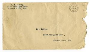 Primary view of object titled '[Envelope for Mr. Claude White, June, 1912]'.