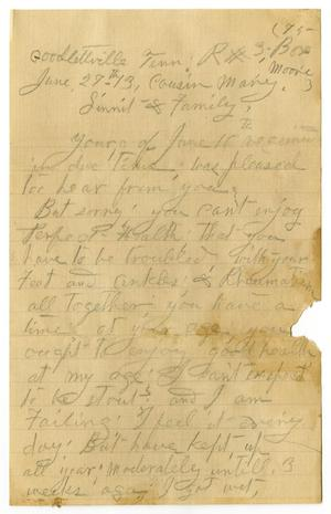 Primary view of object titled '[Letter from Sally Thornhill to Mary Ann Moore and Linnet Moore White, June 27, 1913]'.