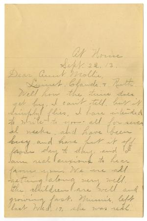 Primary view of object titled '[Letter from Birdie McGee McKinley to Mary Ann Moore and the White family, September 22, 1913]'.