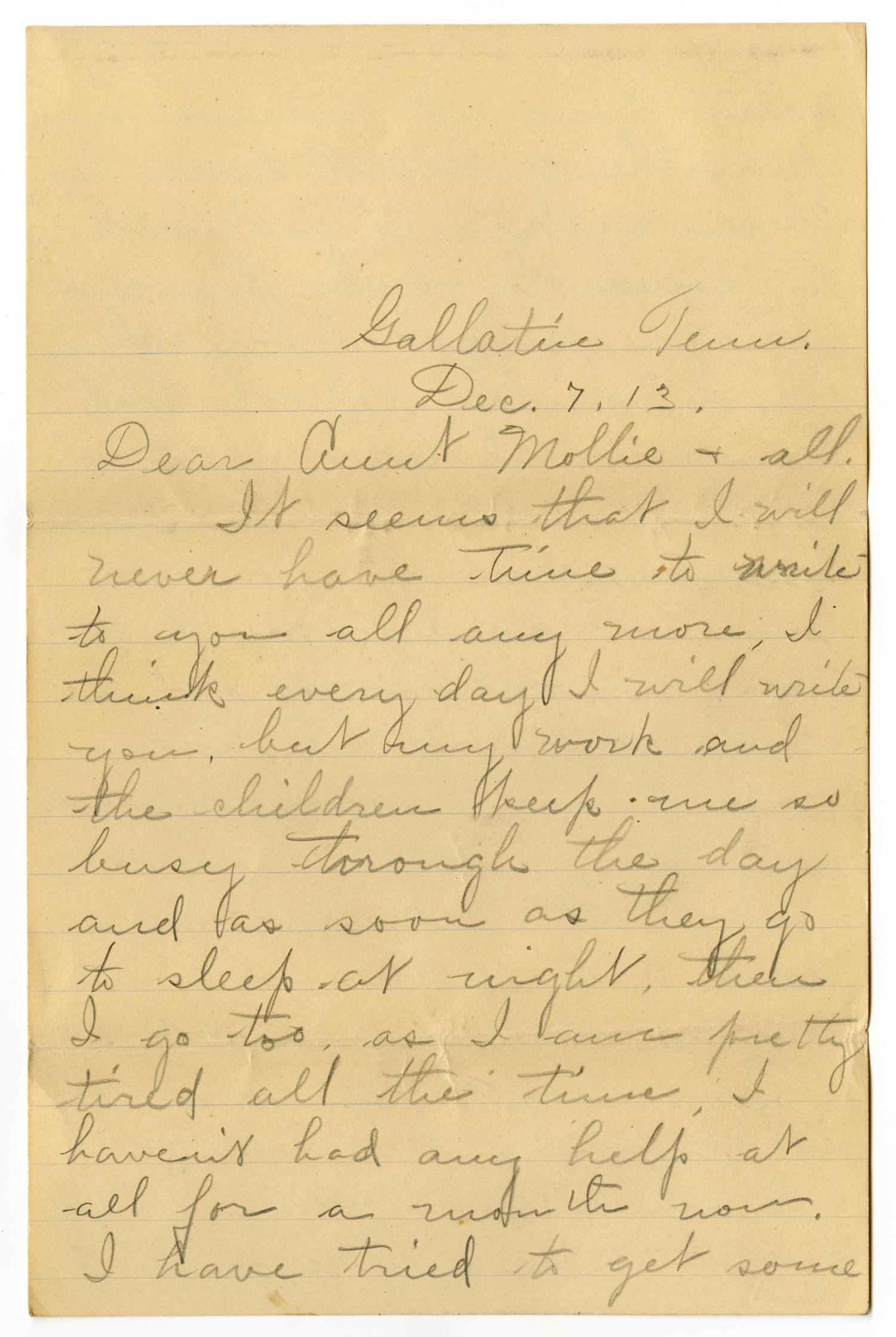 [Letter from Birdie McGee McKinley to Mary Ann Moore, December 7, 1913]                                                                                                      [Sequence #]: 1 of 12