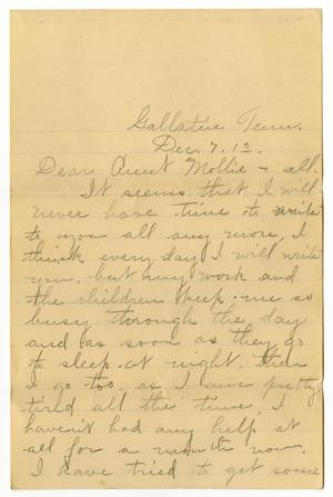 Primary view of object titled '[Letter from Birdie McGee McKinley to Mary Ann Moore, December 7, 1913]'.