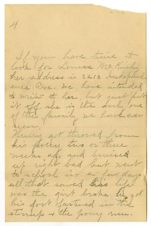 Primary view of object titled '[Letter from Birdie McGee, December 7, 1913]'.