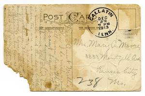 Primary view of object titled '[Postcard to Mary Ann Moore, December 29, 1913]'.