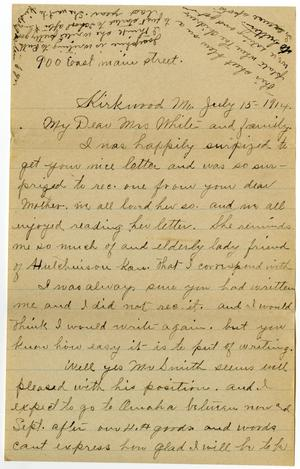 [Letter from Mrs. Edgar Smith to Linnet White, July 15, 1914]