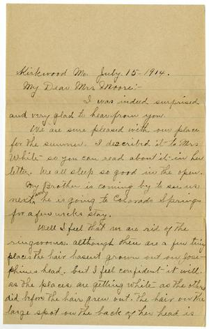 Primary view of object titled '[Letter from Mrs. Edgar Smith to Mary Moore, July 15, 1914]'.