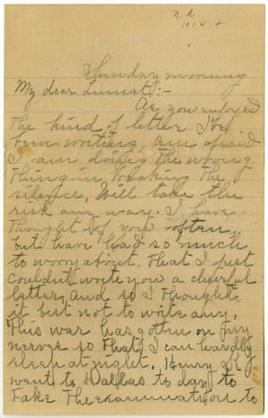 Primary view of object titled '[Letter to Linnet White, circa 1914]'.