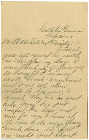 Primary view of object titled '[Letter from William J. McKinley to Claude D. White and Family, February 21, 1915]'.