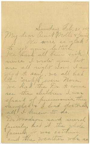 Primary view of object titled '[Letter from Birdie McKinley to Mollie Moore and Family, February 21, 1915]'.
