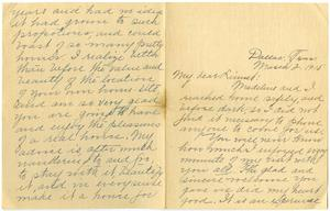 Primary view of object titled '[Letter from Cora Robertson to Linnet White, March 2, 1915]'.