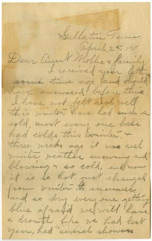 Primary view of object titled '[Letter from Birdie McKinley to Mollie Moore and Family, April 25, 1915]'.