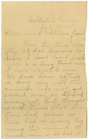 Primary view of object titled '[Letter from Birdie McKinley to Mollie Moore and Family, July 18, 1915]'.