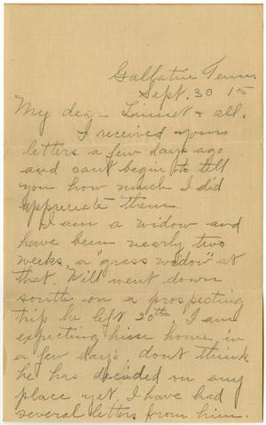 Primary view of object titled '[Letter from Birdie McKinley to Linnet White and Family, September 30, 1915]'.