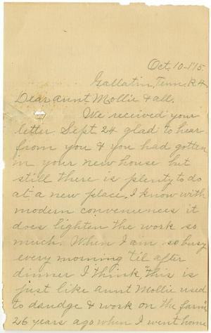 Primary view of object titled '[Letter from Alice G. to Mollie Moore, Linnet White, and Family, October 10, 1915]'.