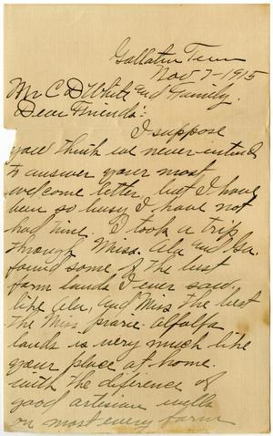 Primary view of object titled '[Letter from William J. McKinley to Claude D. White and Family, November 2, 1915]'.