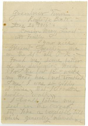 Primary view of object titled '[Letter from Sally Thornhill to Mary Moore, Linnet White, and Family, December 24, 1915]'.