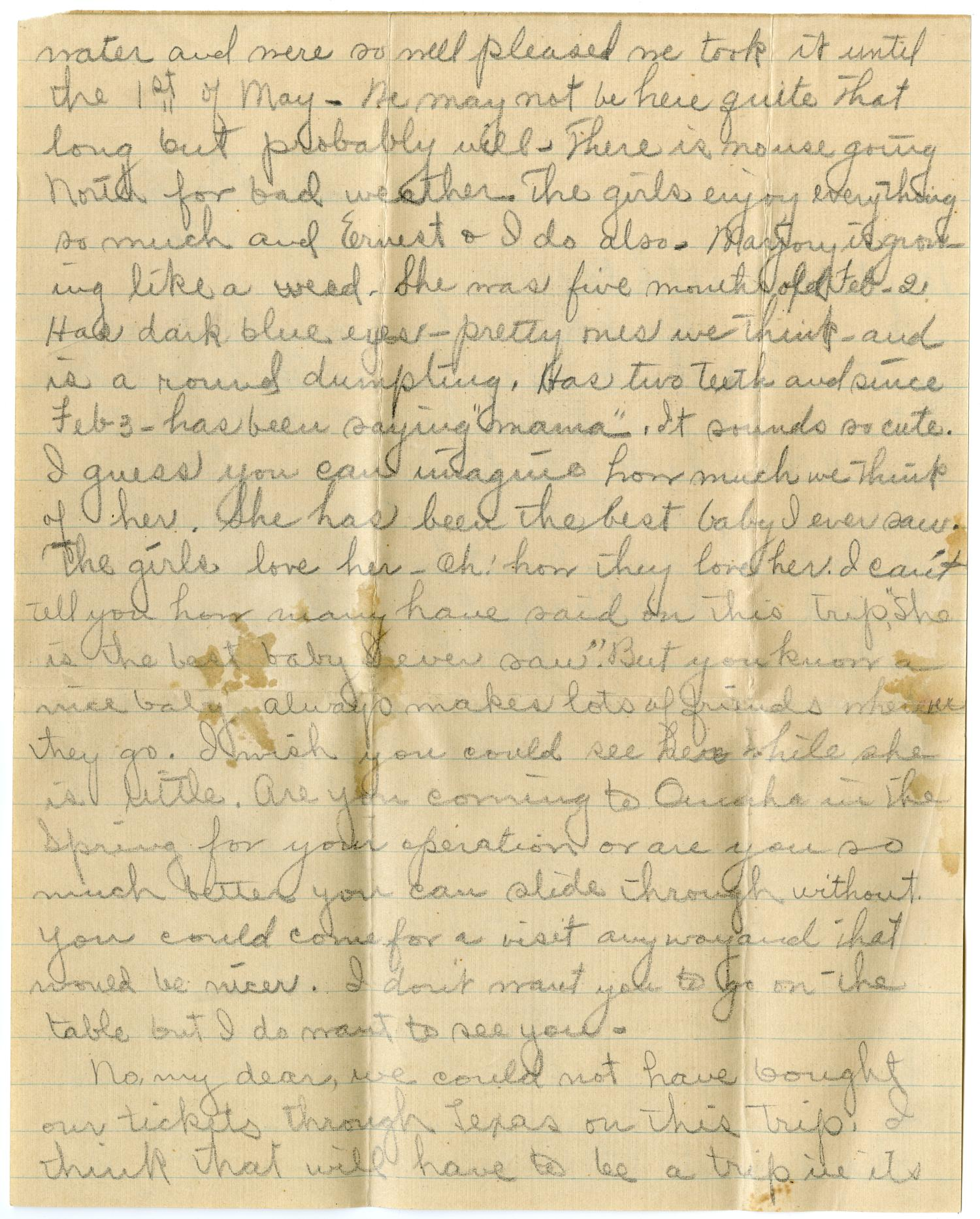 [Letter from Cora Robertson to Linnet White, February 11, 1916]                                                                                                      [Sequence #]: 2 of 6