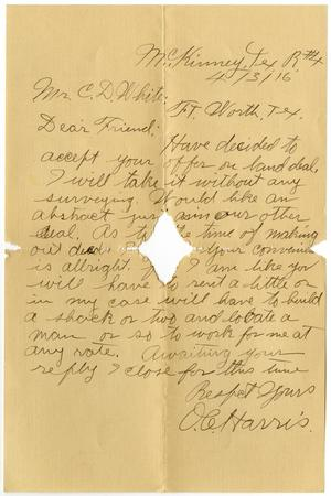 Primary view of object titled '[Letter from O. C. Harris to Claude D. White, April 3, 1916]'.