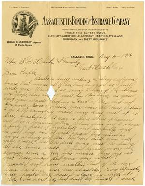 Primary view of object titled '[Letter from William J. McKinley to Claude D. Moore and Family, May 4, 1916]'.