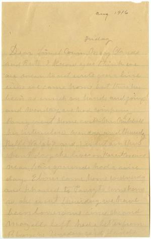 Primary view of object titled '[Letter from Laura Jernigan to Linnet, Claude, and Ruth White and Mary, August 1916]'.