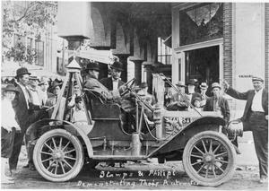 Primary view of object titled 'Stamps & Phillipt  [sic] Demonstrating  Their Automobile'.