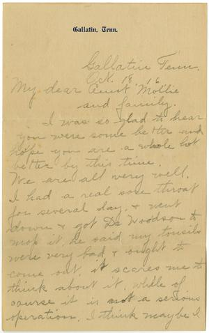 Primary view of object titled '[Letter from Birdie McKinley to Mollie Moore and Linnet White, October 18, 1916]'.