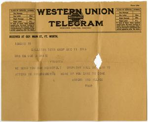 Primary view of object titled '[Telegram from Birdie McKinley and Alice to Linnet White, December 11, 1916]'.