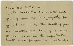 Primary view of object titled '[Letter from Sage and Margaret Leake to Linnet White, December 12, 1916]'.