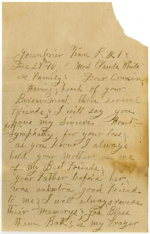 Primary view of object titled '[Letter from Sally Thornhill to Linnet White and Family, December 27, 1916]'.
