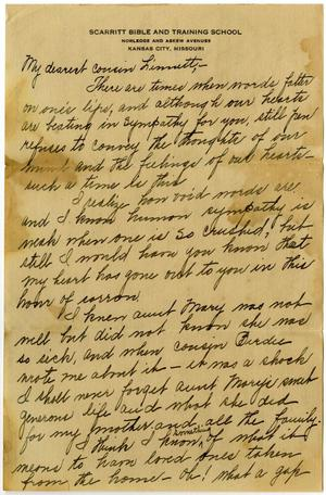 Primary view of object titled '[Letter from Dorothy Dodd to Linnet White, December 15, 1916]'.
