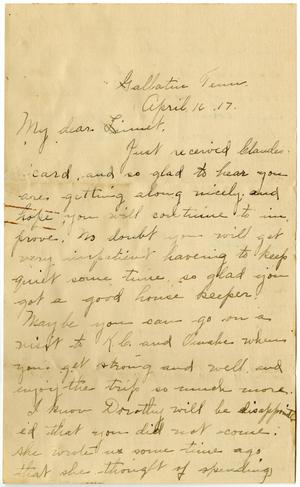 Primary view of object titled '[Letter from Birdie McKinley to Linnet White, April 16, 1917]'.