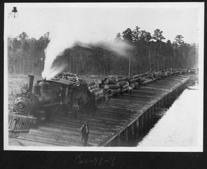 Primary view of object titled '[Texas South-Eastern Railroad Engine 3 at the Southern Pine Lumber Company Mill Pond]'.