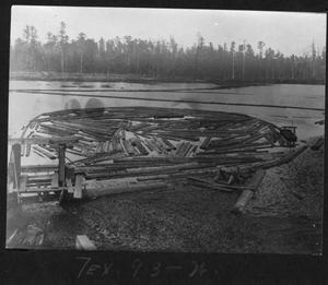 Primary view of object titled '[Logs in the Southern Pine Lumber Company Mill Pond]'.
