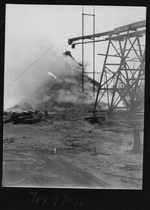 Primary view of object titled '[Burning Wood Waste Pile]'.