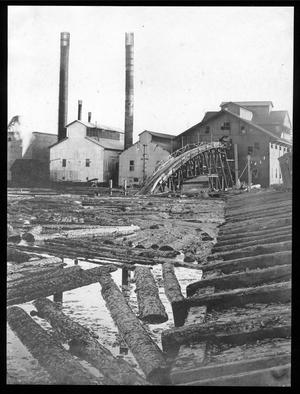 Primary view of object titled '[Southern Pine Lumber Company Sawmill No. 1 from Mill Pond]'.