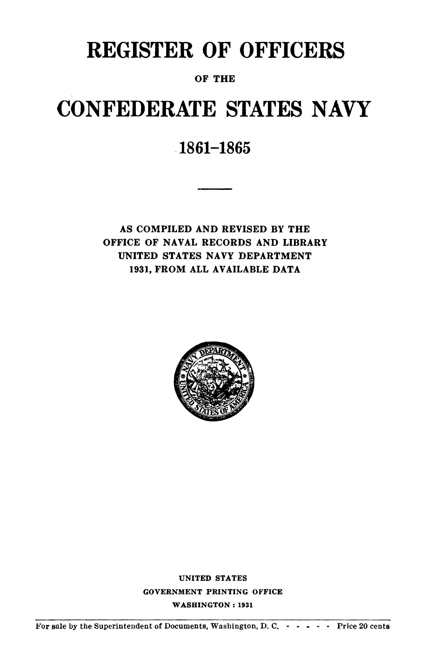 Register of Officers of the Confederate States Navy, 1861--1865                                                                                                      Title Page