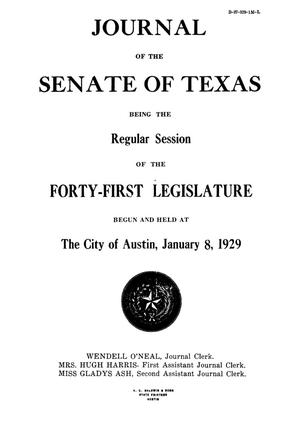 Primary view of object titled 'Journal of the Senate of Texas being the Regular Session of the Forty-First Legislature'.