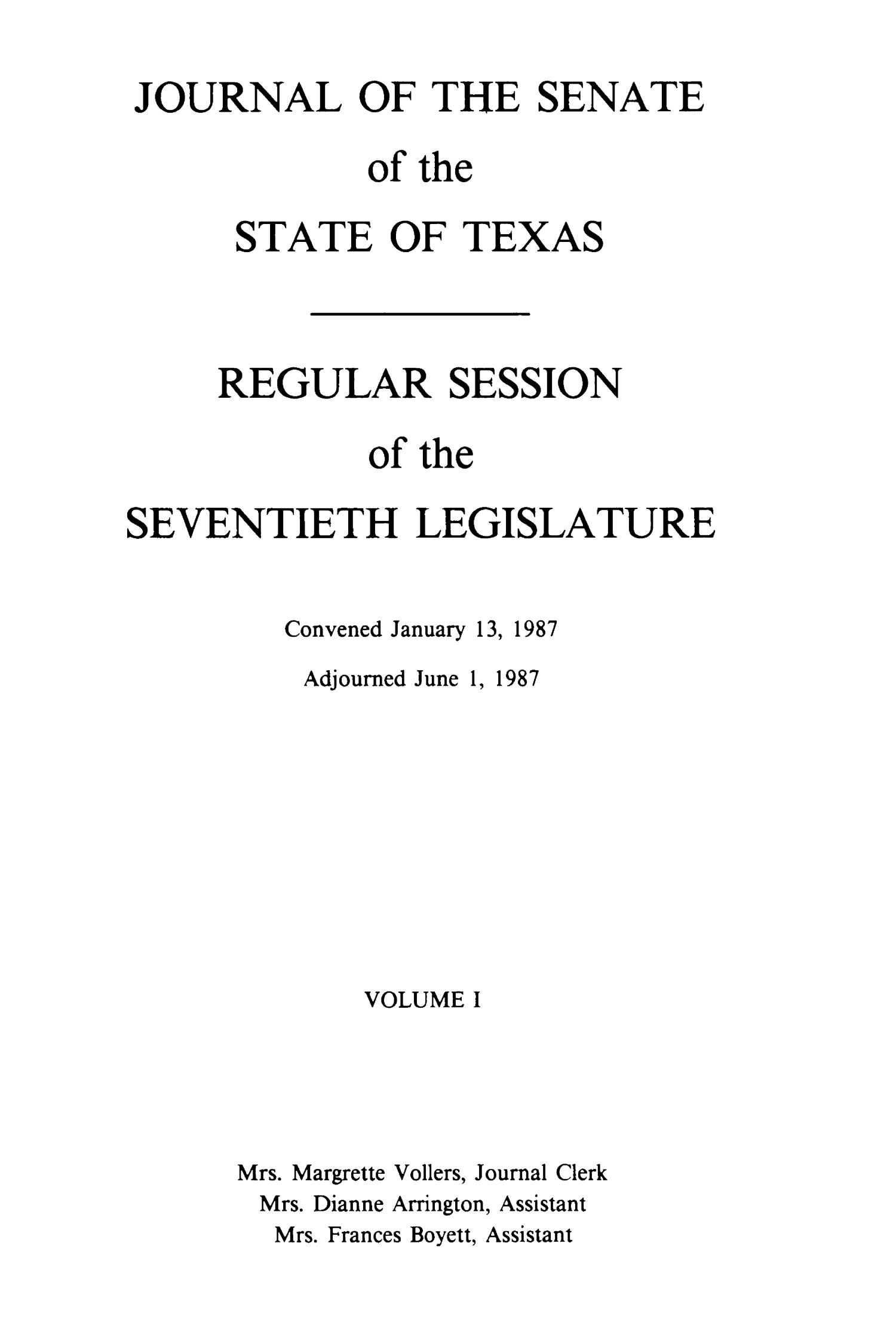 Journal of the Senate of the Regular and the First Called Sessions of the Seventieth Legislature of the State of Texas, Volume 1                                                                                                      Title Page