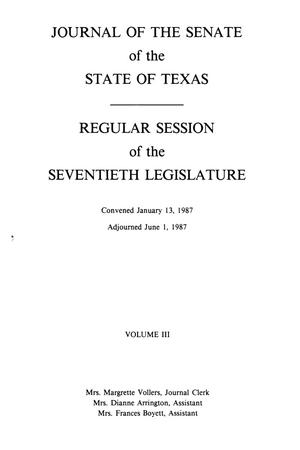Primary view of object titled 'Journal of the Senate of the State of Texas, Regular Session of the Seventieth Legislature, Volume 3'.