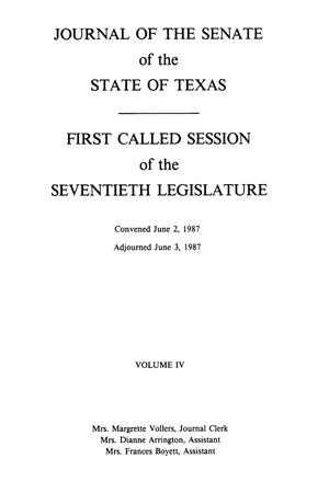 Primary view of object titled 'Journal of the Senate of the State of Texas, First and Second Called Sessions of the Seventieth Legislature, Volume 4'.