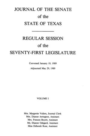 Primary view of object titled 'Journal of the Senate of the State of Texas, Regular Session of the Seventy-First Legislature, Volume 1'.